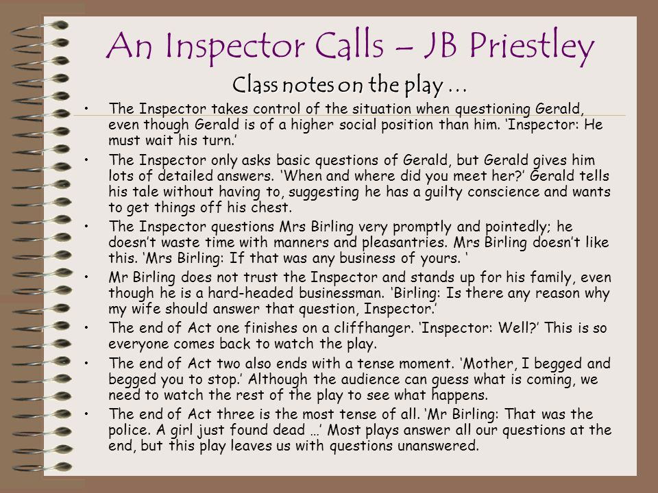 an inspector calls 'what do you Inspector goole: one eva smith has gone - but there are millions and millions and million of eva smiths and john smiths still left with us, with their lives, their hopes and fears, their suffering and chance of happiness, all intertwined with our lives, and what we think and say and do we don't live alone we are members of.
