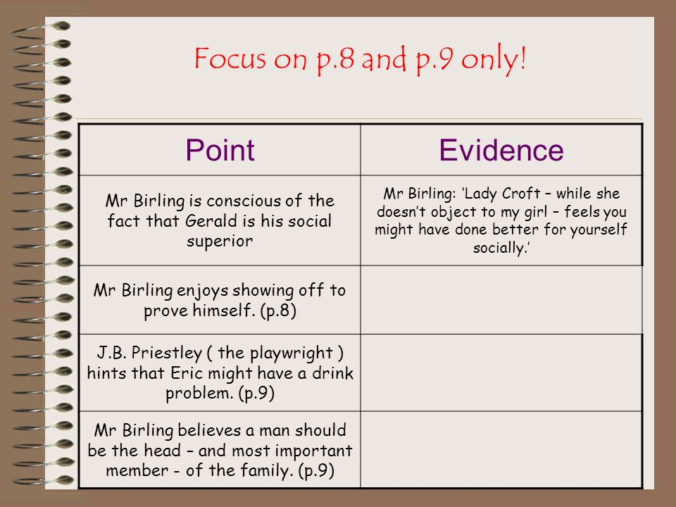 Focus on p.8 and p.9 only! Point Evidence
