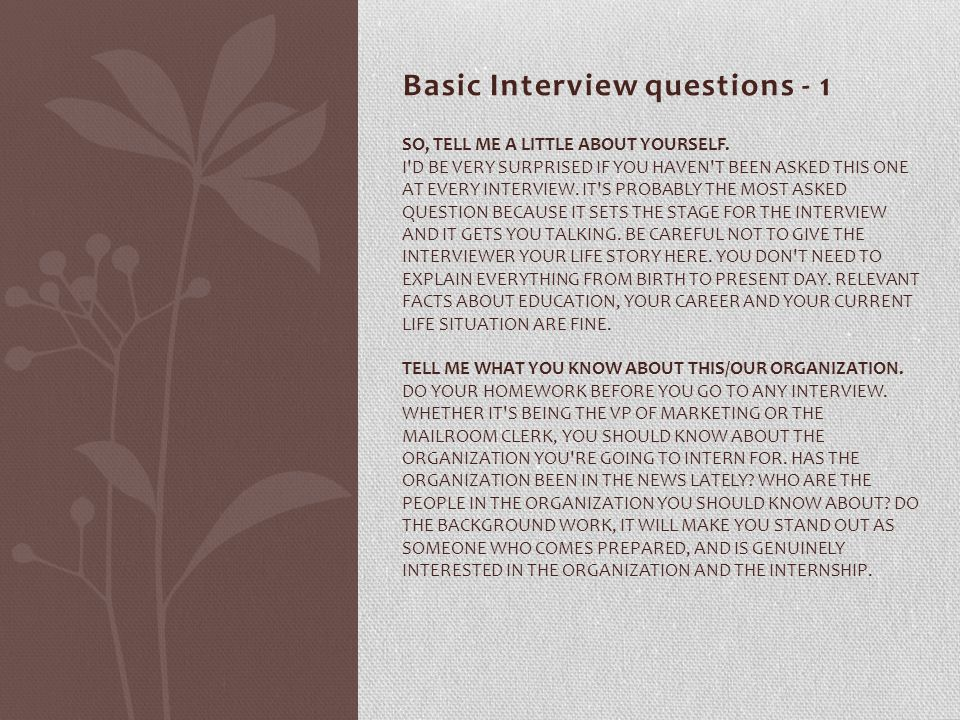 Basic Interview questions - 1