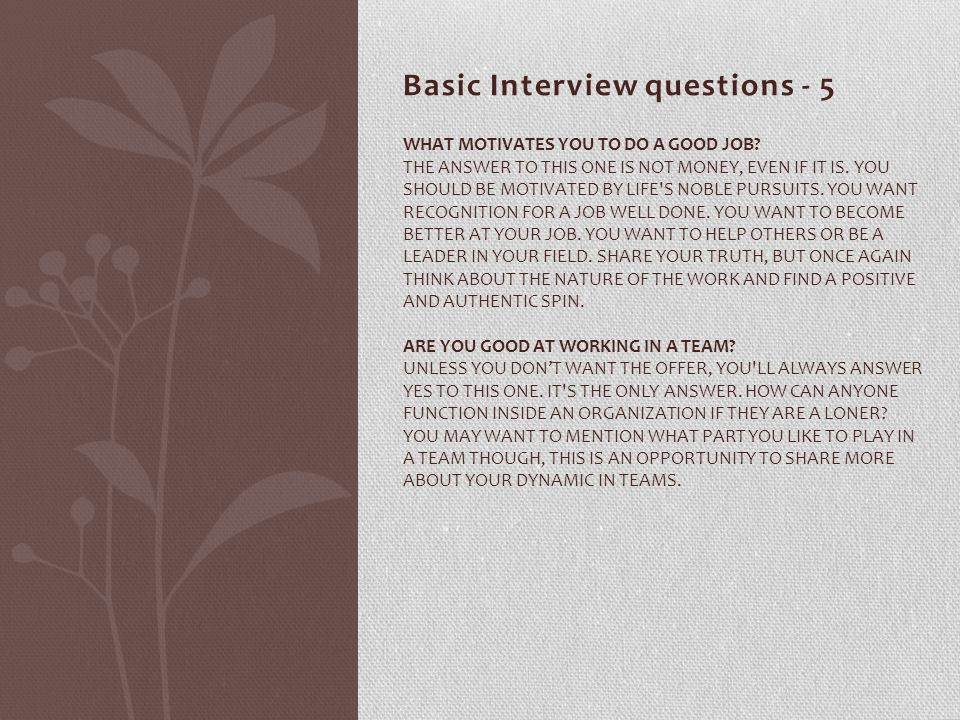 Basic Interview questions - 5