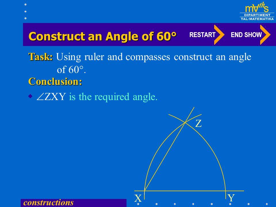Construct an Angle of 60° Task: