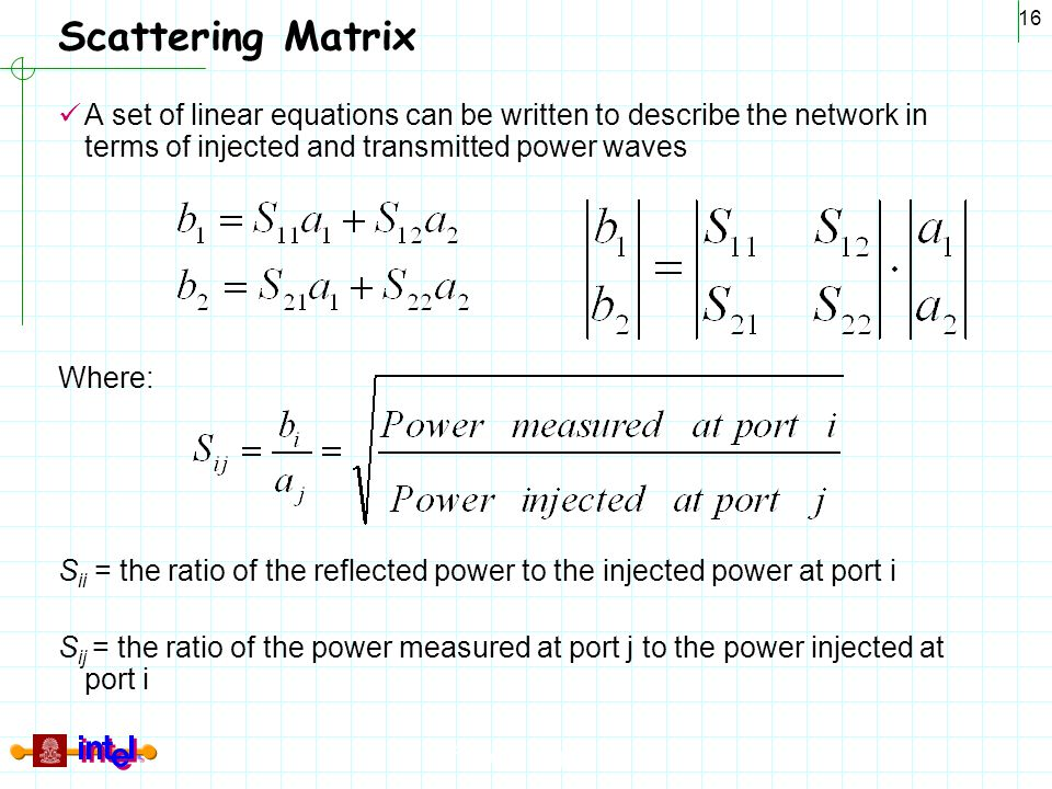 Scattering Matrix A set of linear equations can be written to describe the network in terms of injected and transmitted power waves.