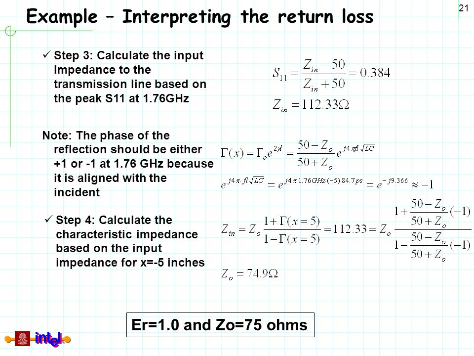 Example – Interpreting the return loss