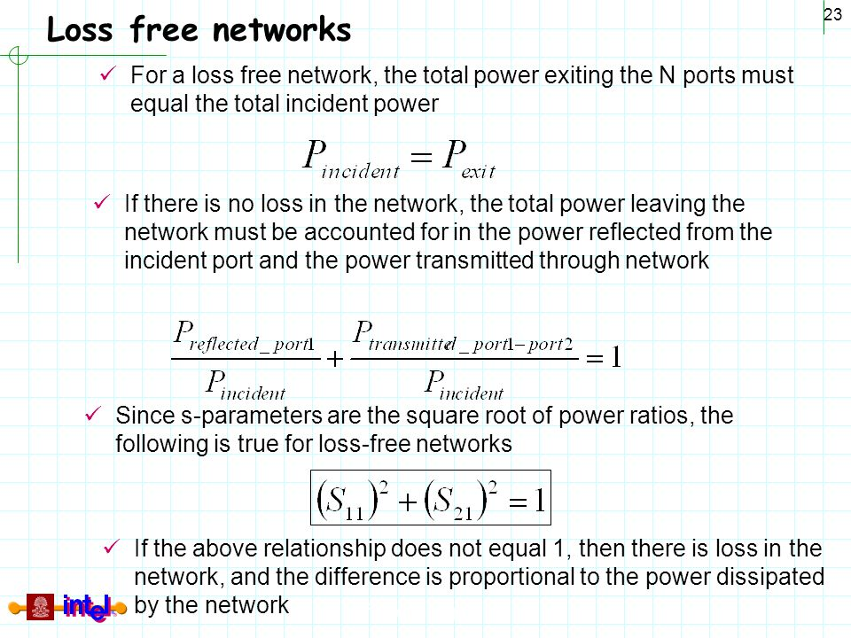 Loss free networks For a loss free network, the total power exiting the N ports must equal the total incident power.