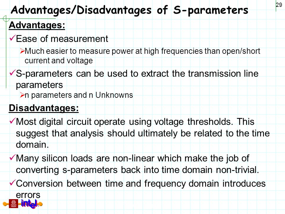 Advantages/Disadvantages of S-parameters