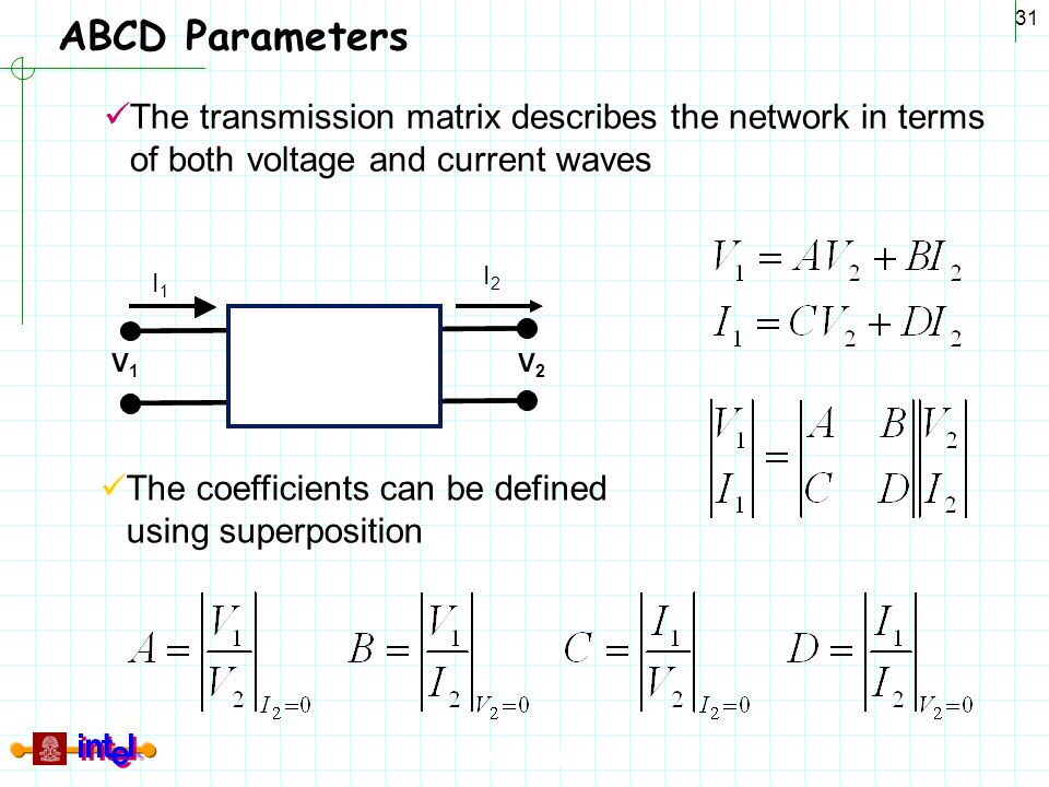 ABCD Parameters The transmission matrix describes the network in terms of both voltage and current waves.