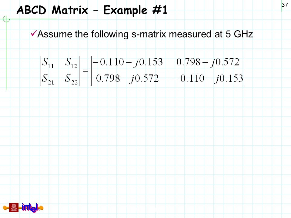 ABCD Matrix – Example #1 Assume the following s-matrix measured at 5 GHz