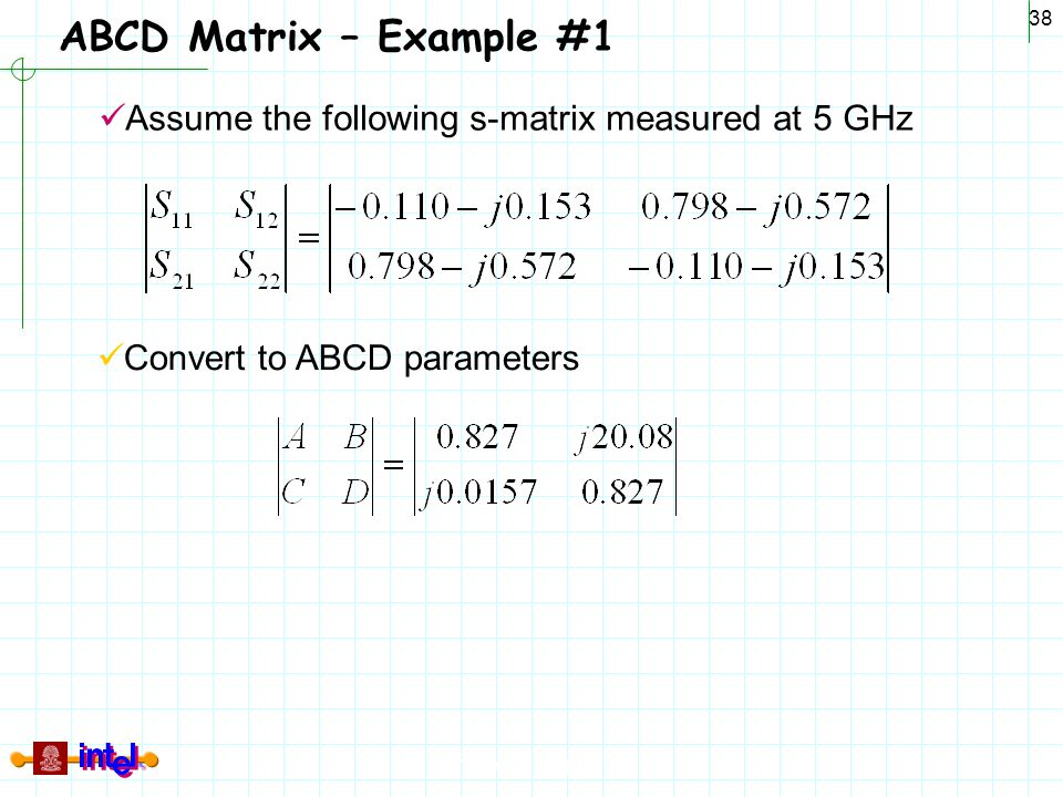 ABCD Matrix – Example #1 Assume the following s-matrix measured at 5 GHz Convert to ABCD parameters