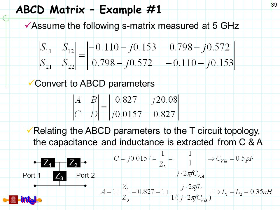 ABCD Matrix – Example #1 Assume the following s-matrix measured at 5 GHz. Convert to ABCD parameters.