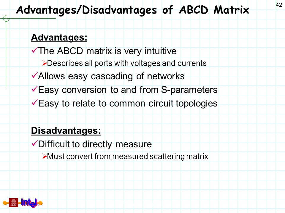 Advantages/Disadvantages of ABCD Matrix