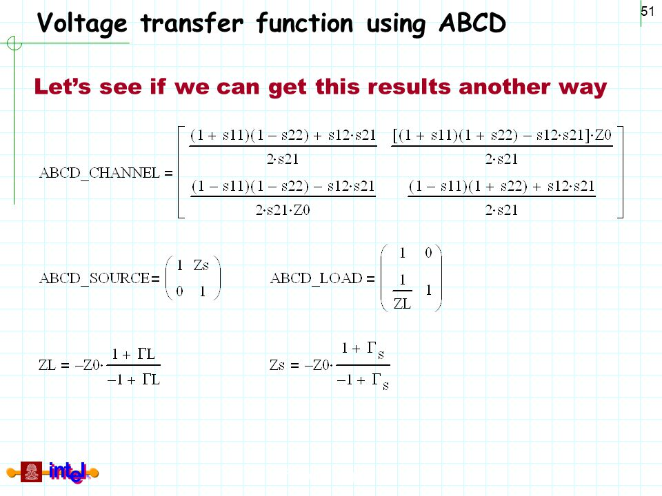Voltage transfer function using ABCD