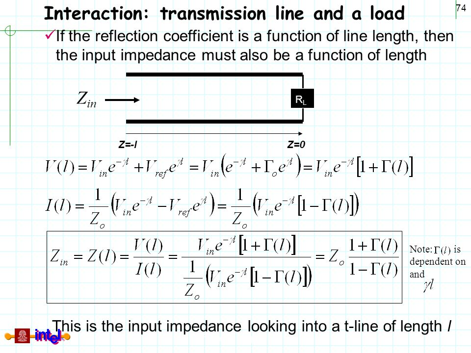 This is the input impedance looking into a t-line of length l