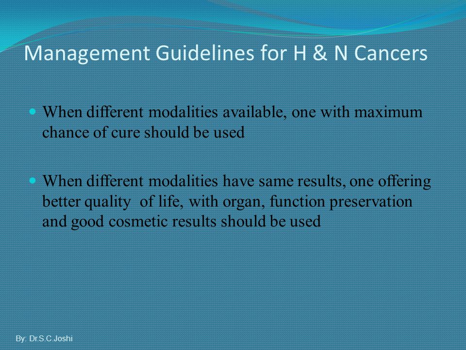 Management Guidelines for H & N Cancers