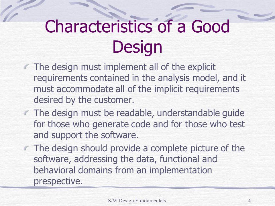 Characteristics of a Good Design