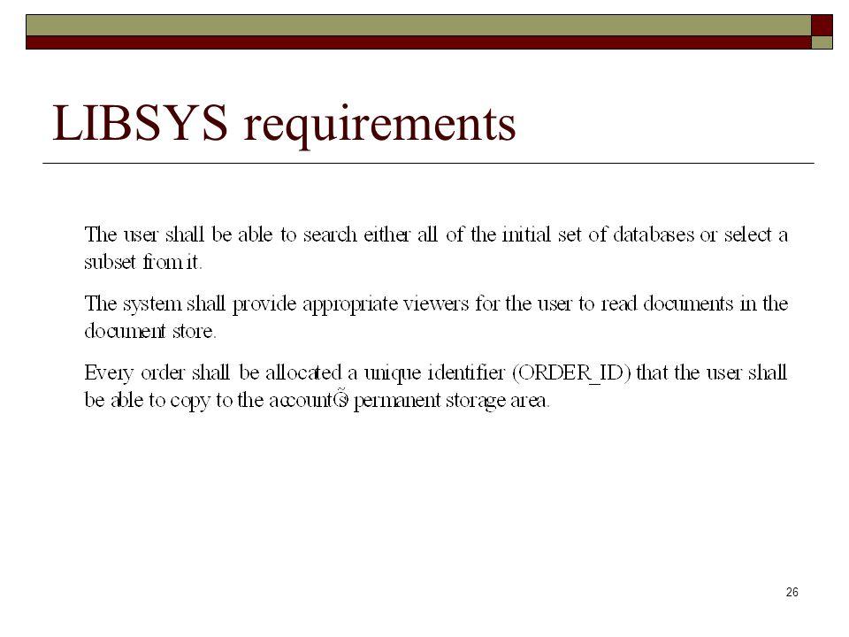 LIBSYS requirements