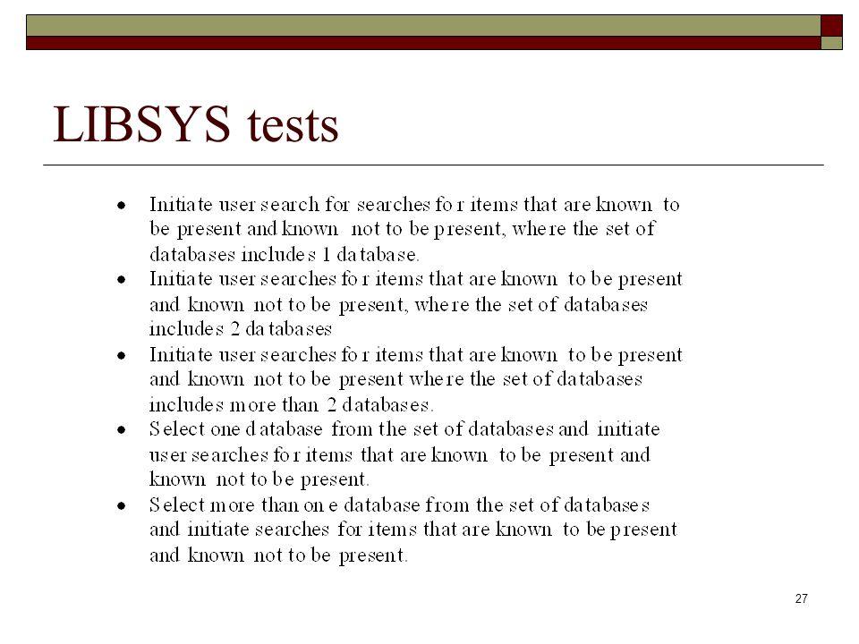 LIBSYS tests