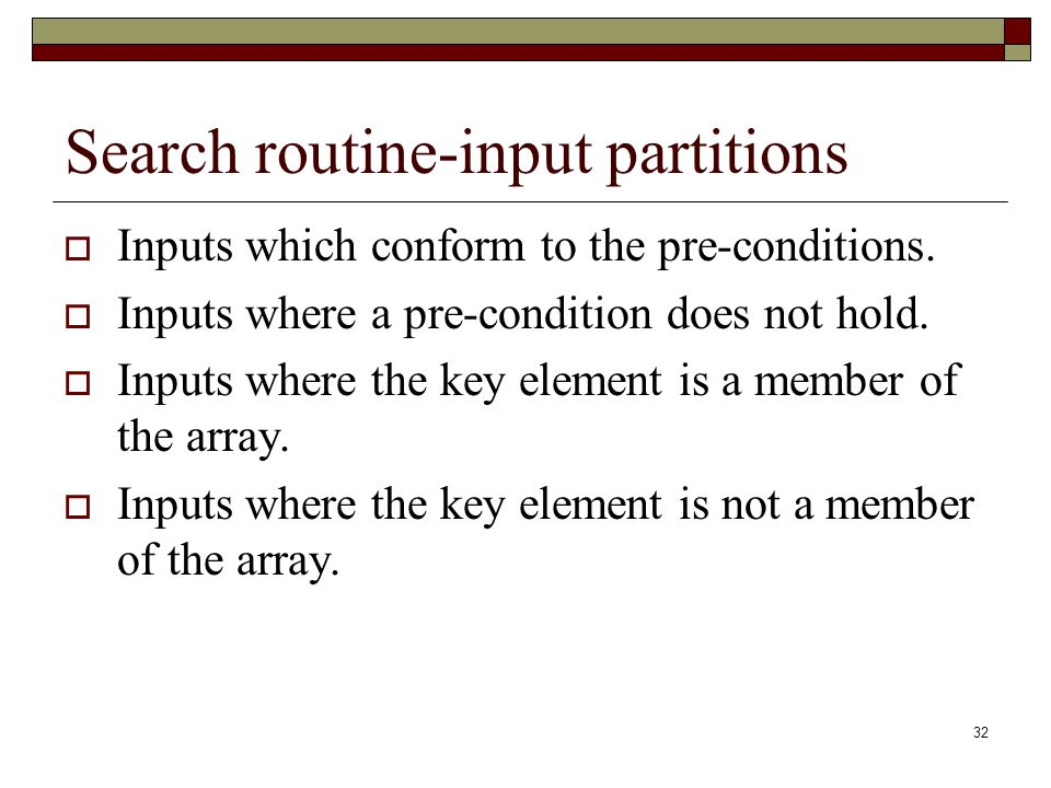 Search routine-input partitions