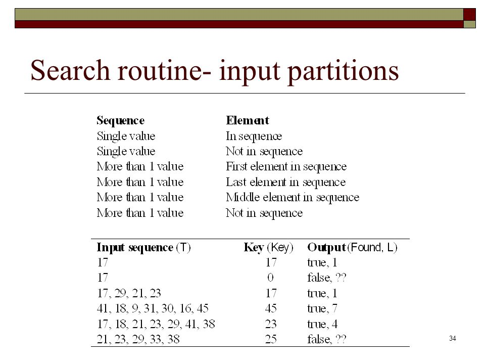 Search routine- input partitions