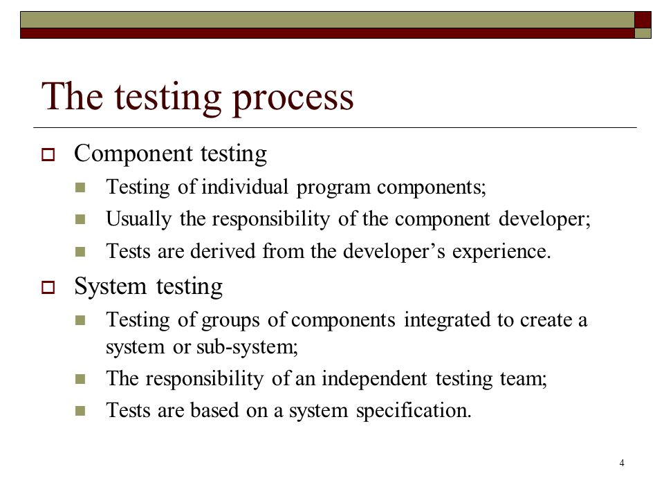 The testing process Component testing System testing