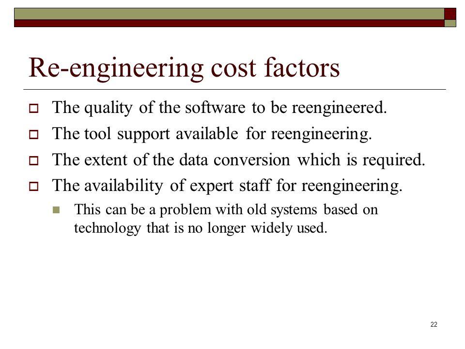 Re-engineering cost factors