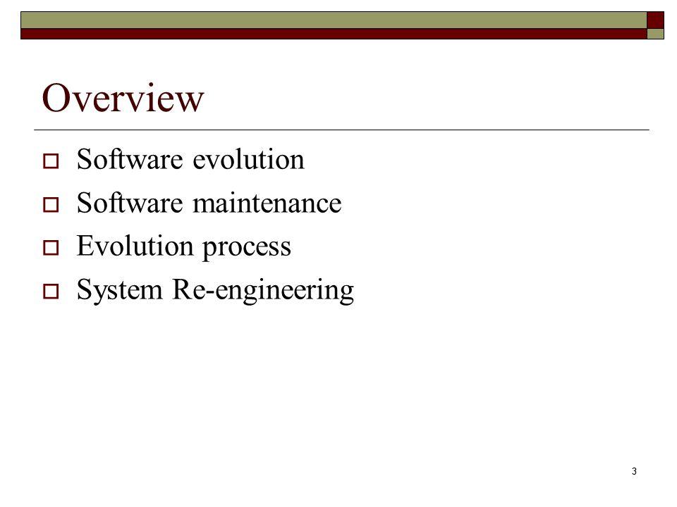 Overview Software evolution Software maintenance Evolution process