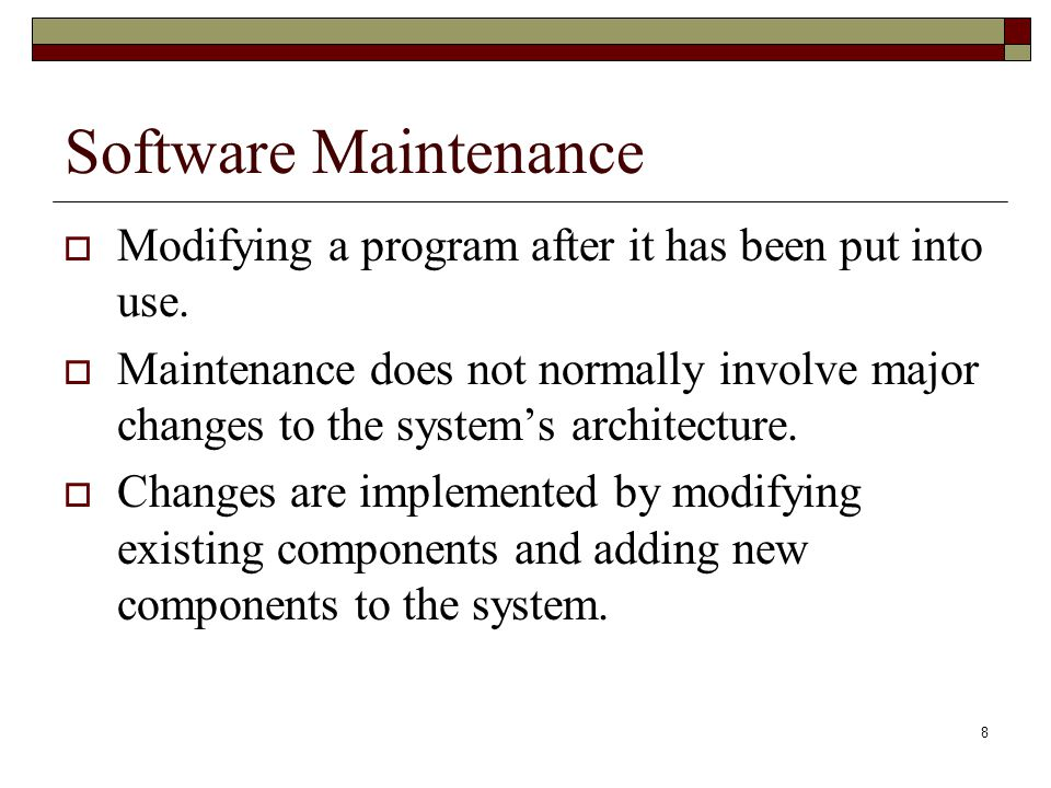Software Maintenance Modifying a program after it has been put into use.
