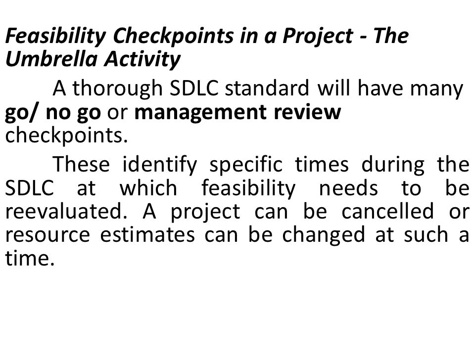 Feasibility Checkpoints in a Project - The Umbrella Activity