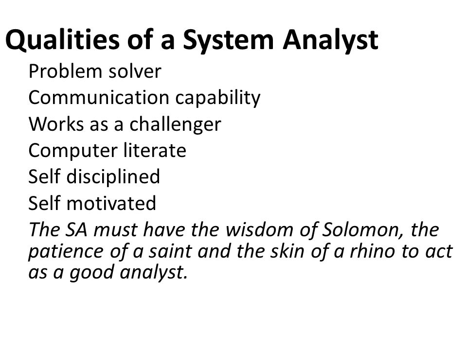 Qualities of a System Analyst