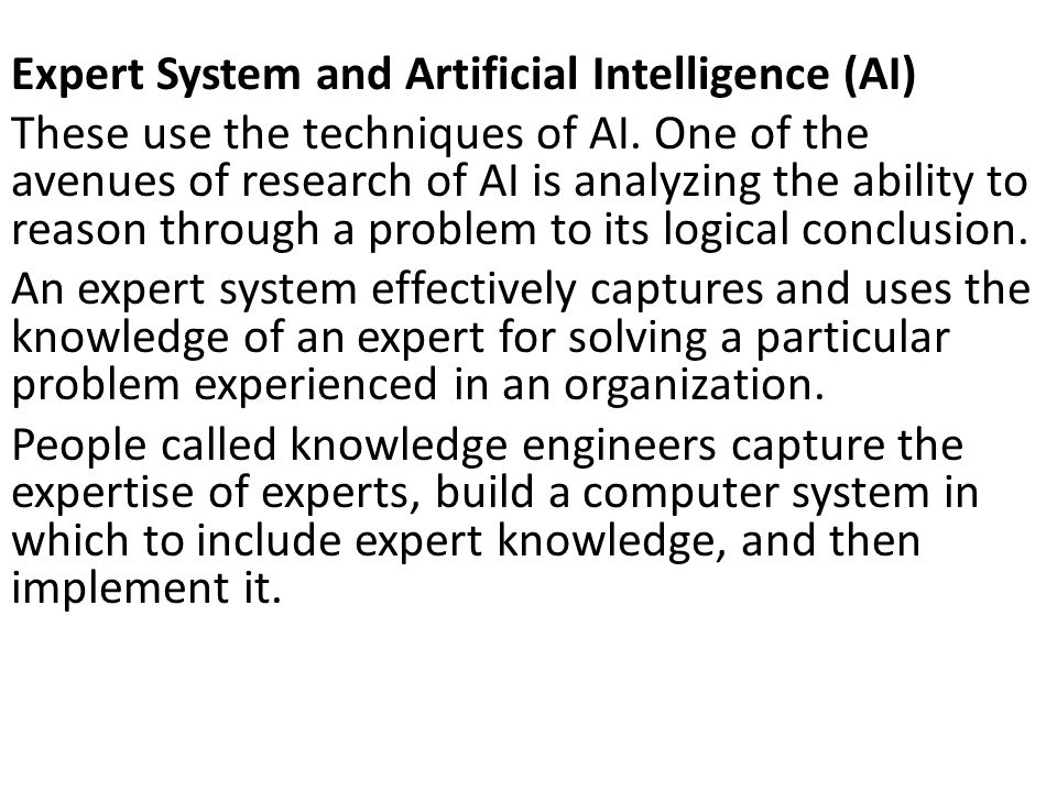 Expert System and Artificial Intelligence (AI)