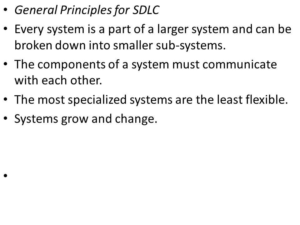 General Principles for SDLC