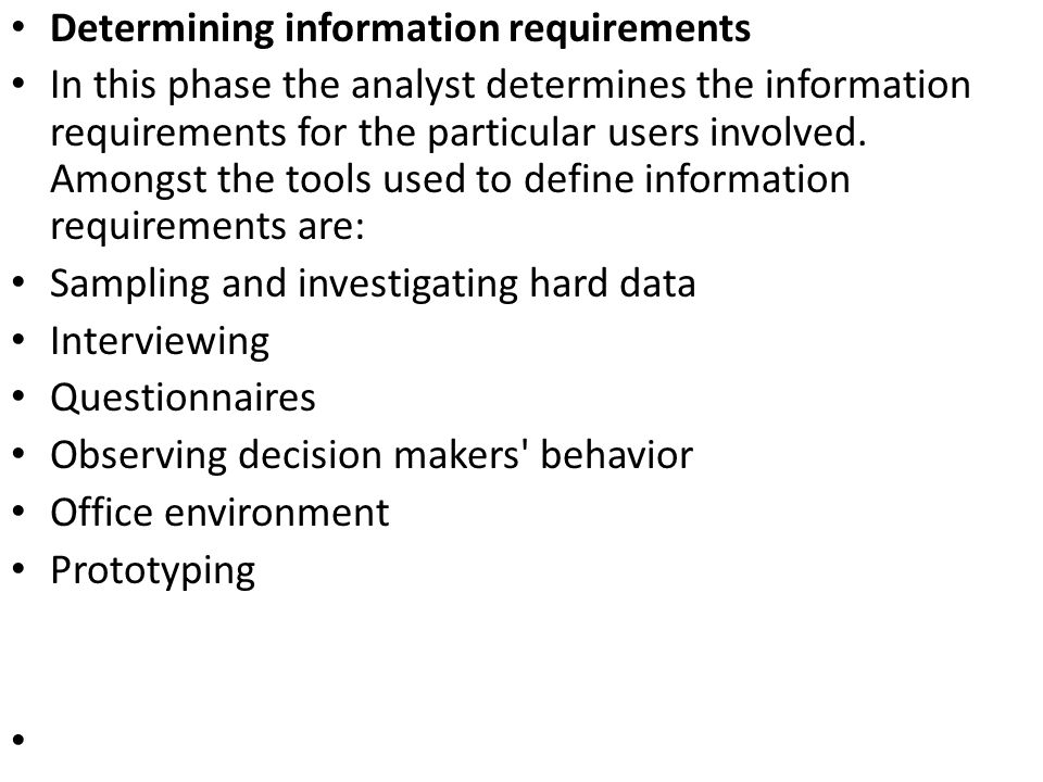 Determining information requirements
