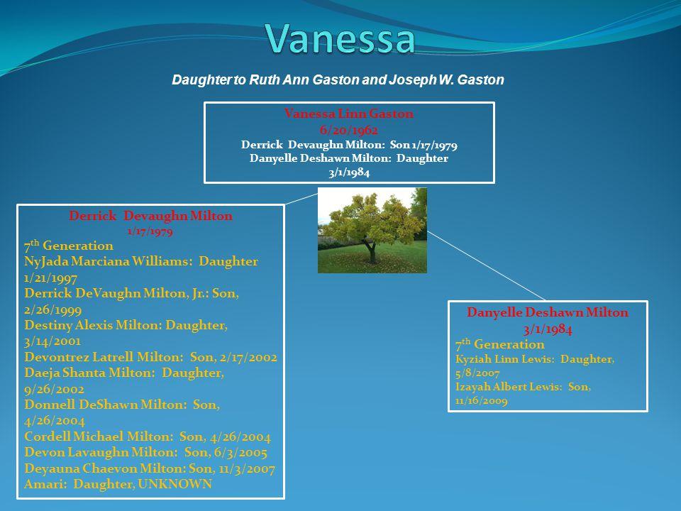 Vanessa Daughter to Ruth Ann Gaston and Joseph W. Gaston