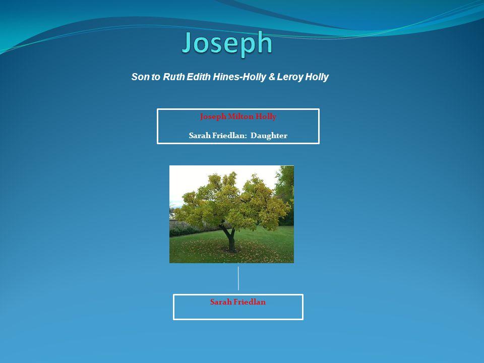 Son to Ruth Edith Hines-Holly & Leroy Holly Sarah Friedlan: Daughter