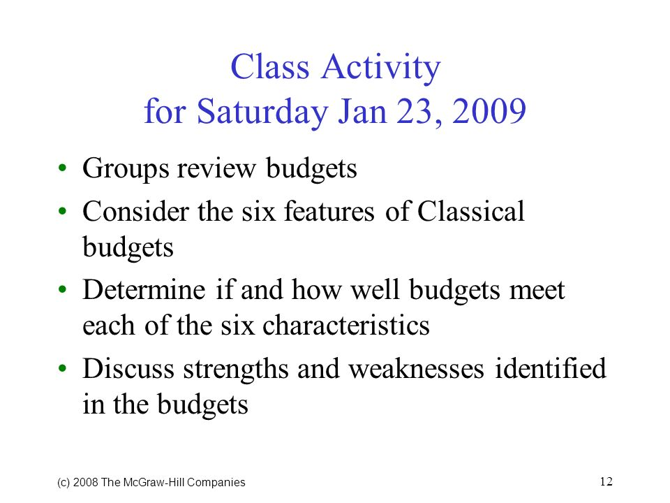 Class Activity for Saturday Jan 23, 2009