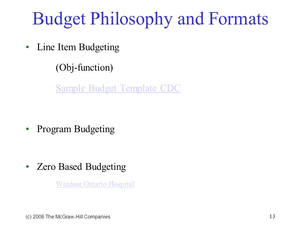 Budget Philosophy and Formats