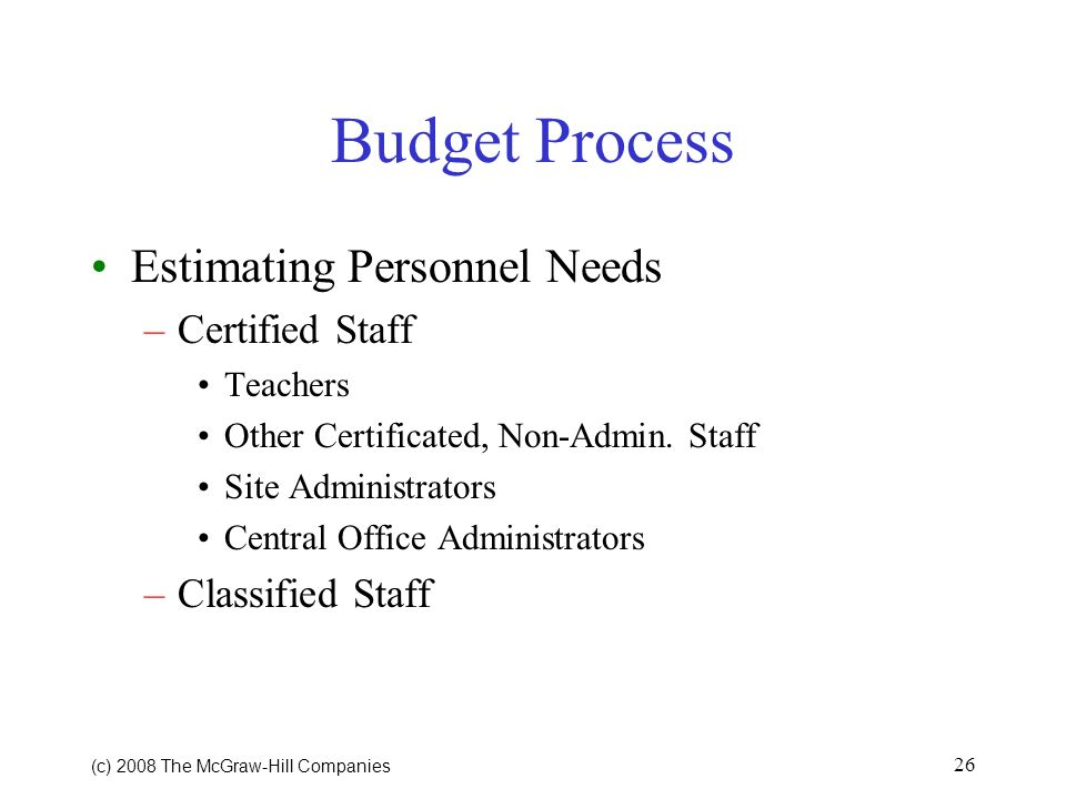 Budget Process Estimating Personnel Needs Certified Staff