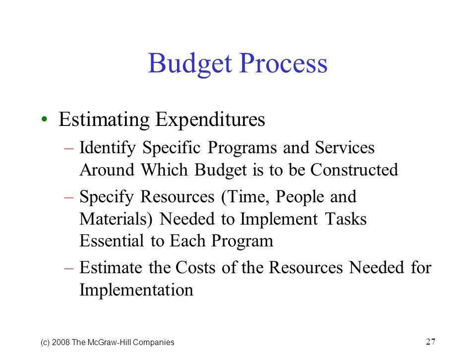 Budget Process Estimating Expenditures