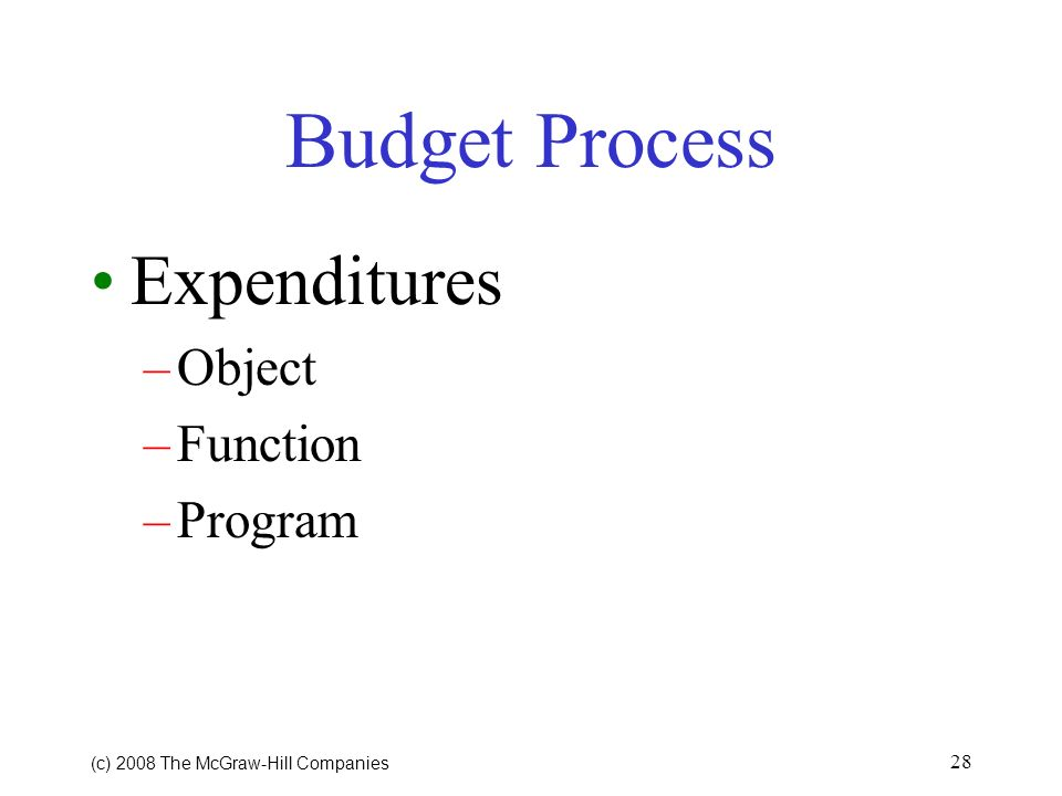 Budget Process Expenditures Object Function Program