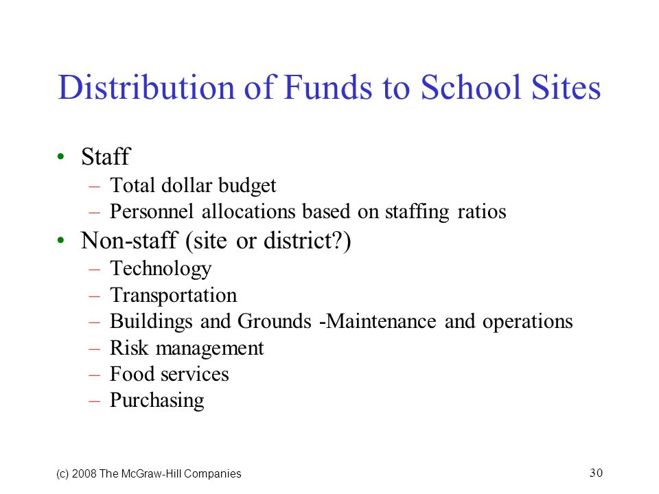 Distribution of Funds to School Sites