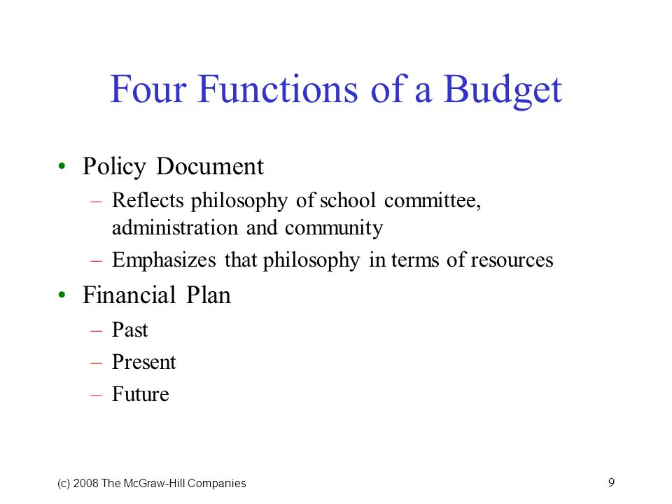 Four Functions of a Budget