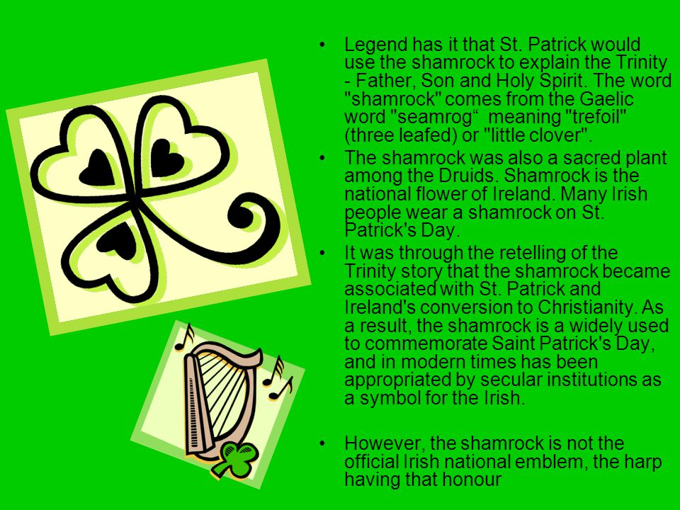 Legend has it that St. Patrick would use the shamrock to explain the Trinity - Father, Son and Holy Spirit. The word shamrock comes from the Gaelic word seamrog meaning trefoil (three leafed) or little clover .