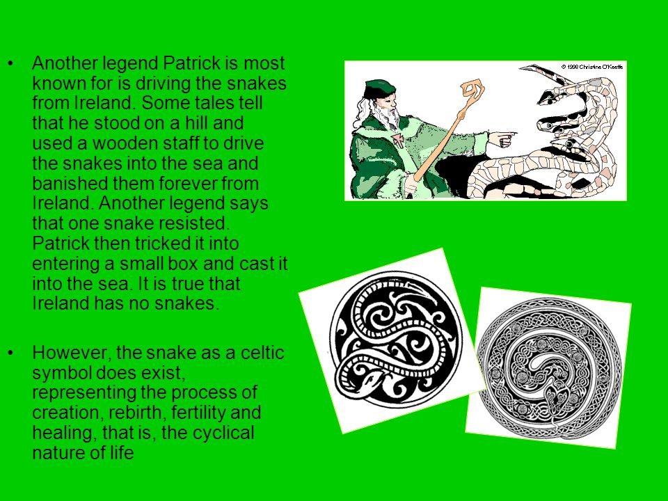 Another legend Patrick is most known for is driving the snakes from Ireland. Some tales tell that he stood on a hill and used a wooden staff to drive the snakes into the sea and banished them forever from Ireland. Another legend says that one snake resisted. Patrick then tricked it into entering a small box and cast it into the sea. It is true that Ireland has no snakes.