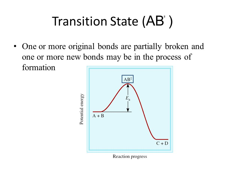 Transition State (AB ) + + One or more original bonds are partially broken and one or more new bonds may be in the process of formation.