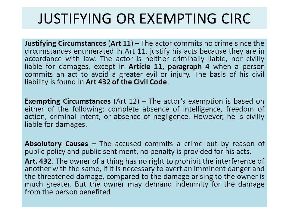 JUSTIFYING OR EXEMPTING CIRC