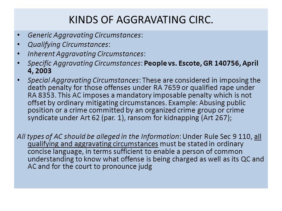 KINDS OF AGGRAVATING CIRC.