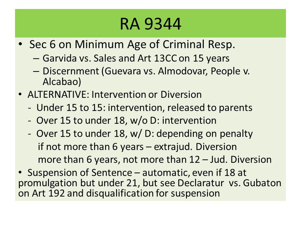 RA 9344 Sec 6 on Minimum Age of Criminal Resp.