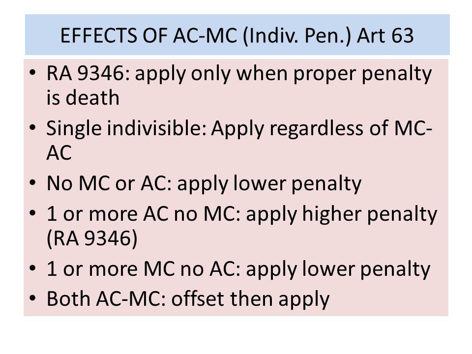 EFFECTS OF AC-MC (Indiv. Pen.) Art 63