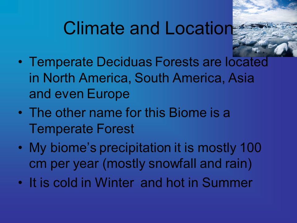 Climate and Location Temperate Deciduas Forests are located in North America, South America, Asia and even Europe.