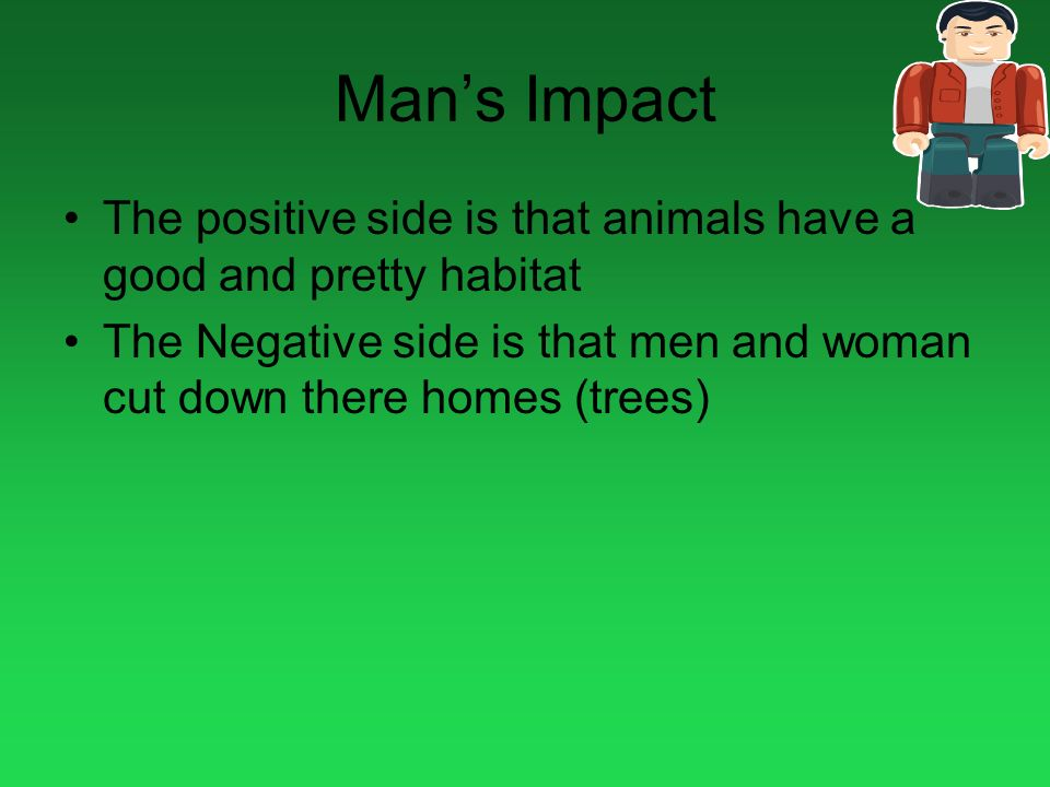 Man's Impact The positive side is that animals have a good and pretty habitat.