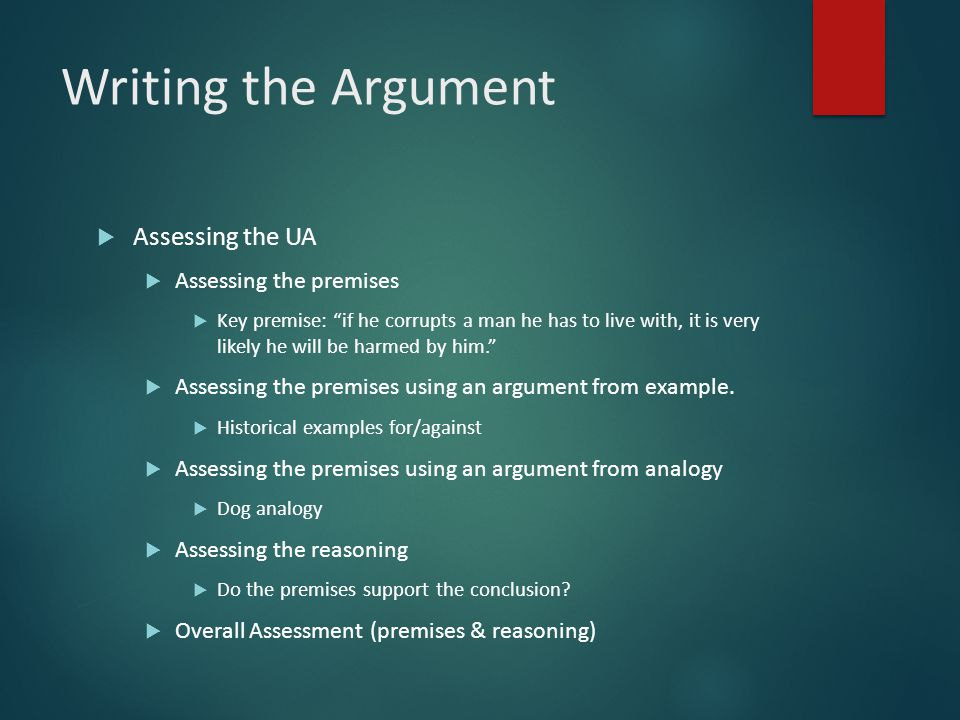 Writing the Argument Assessing the UA Assessing the premises